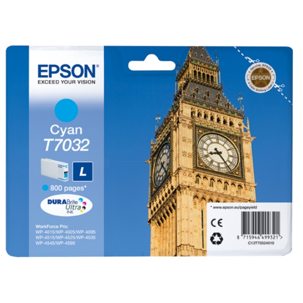 Epson C13T70324010 (T7032) Ink cartridge cyan, 800 pages, 10ml