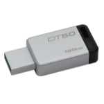 Kingston Technology DataTraveler 50 128GB USB flash drive 3.0 (3.1 Gen 1) USB Type-A connector Black, Silver