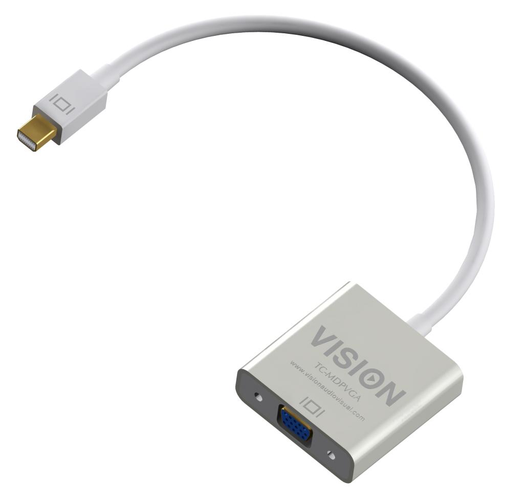 Vision TECHCONNECT MINI-DISPLAYPORT TO VGA ADAPTOR Engineered connectivity solution, White, Plugs into Mini