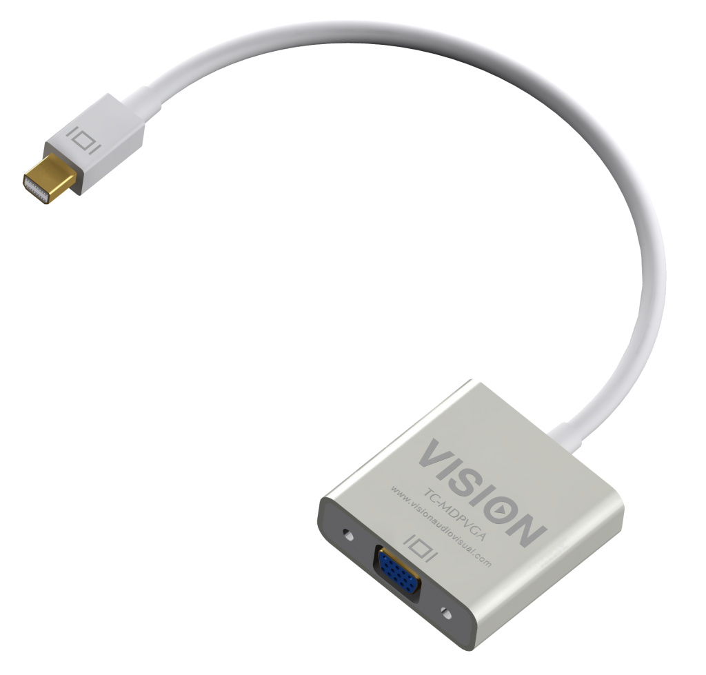 Vision TC-MDPVGA adaptador de cable de vídeo 0,220 m Mini DisplayPort VGA (D-Sub) Blanco