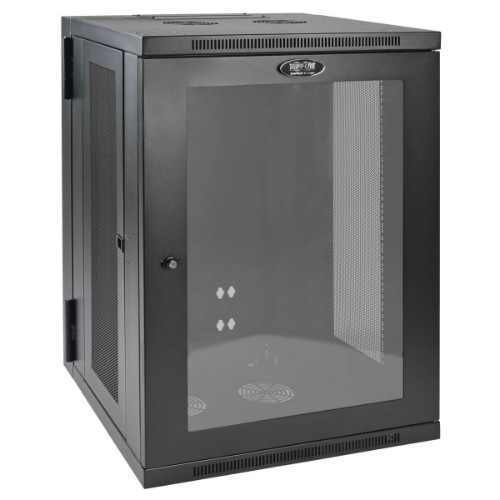 Tripp Lite SmartRack 18U Low-Profile Switch-Depth Wall-Mount Rack Enclosure Cabinet with Clear Acrylic Window, Hinged Back