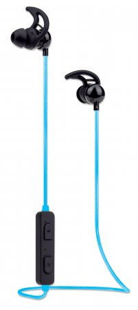 Manhattan Bluetooth Earphones with Microphone (promo), LED Cable Light (multi coloured), 5 hour usage time (approx), Omnidirectional Mic, Integrated Controls, Ear Hook for Secure Fit, Max Range 10m, Bluetooth v4.0, Built in Battery, Rainproof, USB-A charg