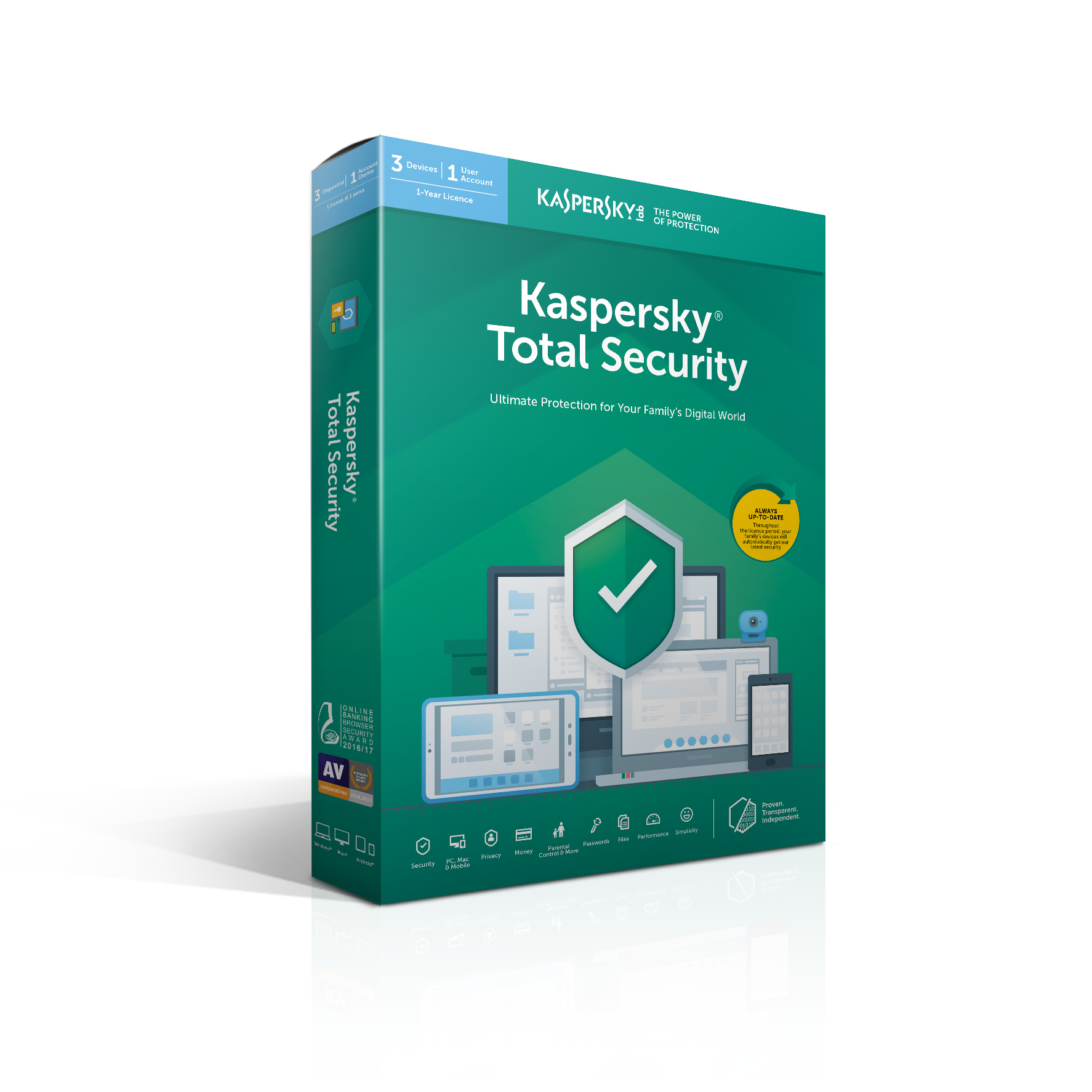 Kaspersky Lab Total Security 2019 Base license 3 licentie(s) 1 jaar Nederlands, Frans