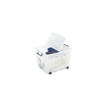 STRATASYS Smart Box Clip-On Folding Lid Carry Handles 75 Litre Clear with Black Wheels Ref HW676CLR