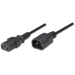 Manhattan Power Cord/Cable, C14 Male to C13 Female (kettle lead), Monitor to CPU, 1.8m, Black, Polybag