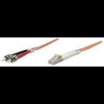 Intellinet Fibre Optic Patch Cable, Duplex, Multimode, LC/ST, 50/125 µm, OM2, 3m, LSZH, Orange, Fiber, Lifetime Warranty