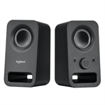 LOGITECH Speaker System 2.0, Z150, Black, Headphone Jack, 3.5mm Input, 6W RMS (Peak)
