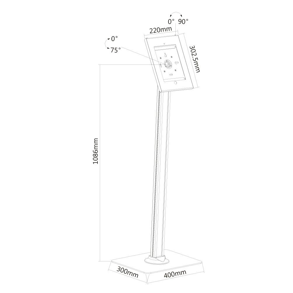 """Newstar TABLET-S300WHITE iPad floor stand for 9.7"""" iPad/ iPad Air/ iPad Pro"""