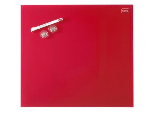 Nobo Diamond Glass Board Magnetic Red 300x300mm Retail Pack