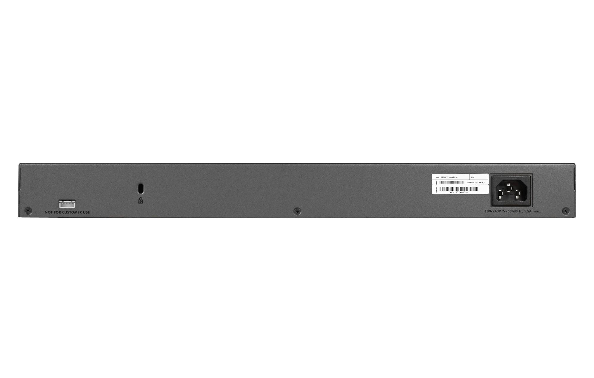 Netgear XS708T-100NES switch Gestionado L2+/L3 10G Ethernet (100/1000/10000) Negro