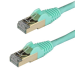 StarTech.com Cable de 0,5m de Red Ethernet RJ45 Cat6a Blindado STP - Cable sin Enganche Snagless - Aguamarina