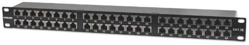 Intellinet Patch Panel, Cat5e, FTP, 48-Port, 1U, Shielded, 90° Top-Entry Punch-Down Blocks, Black