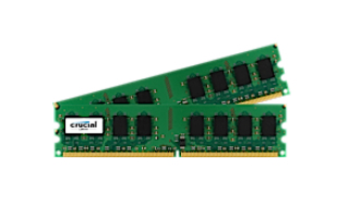 Memory 4GB Kit (2gbx2) 240-pin DIMM DDR2 667MHz Pc2-5300 (CT2KIT25664AA667)