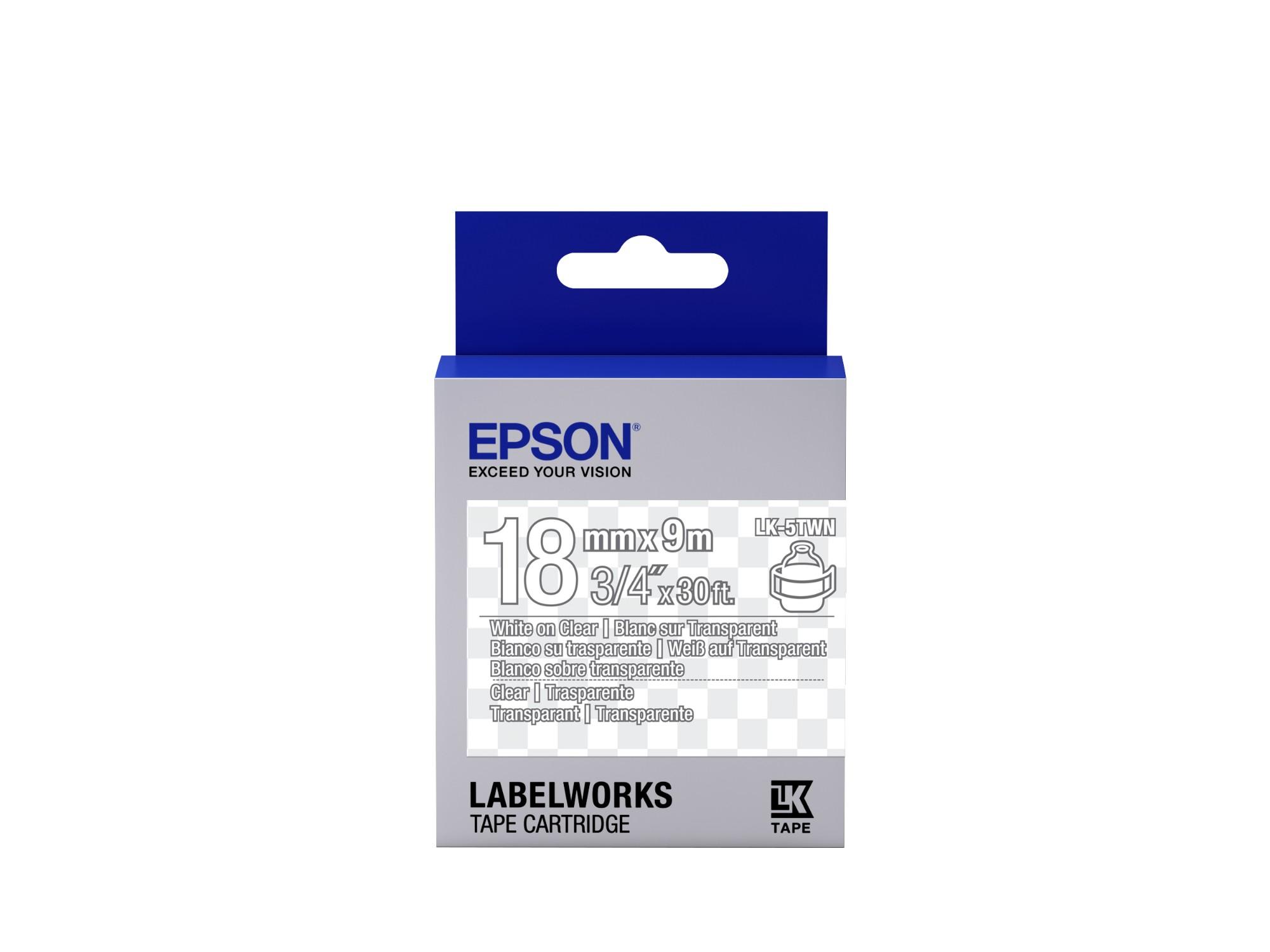 Epson Transparent Tape - LK-5TWN Clear White/Clear 18/9