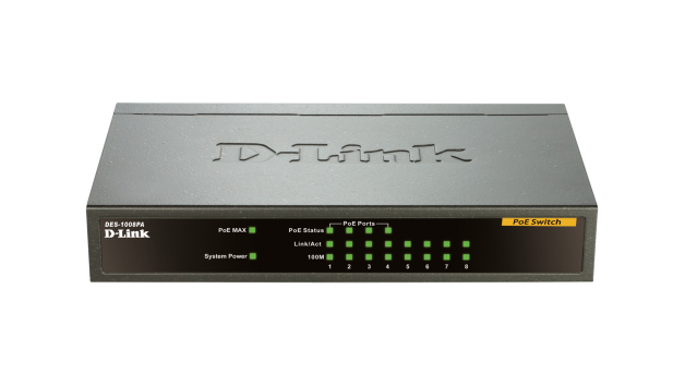 Desktop Switch Des-1008pa 8-port Fast Ethernet Unmanaged Metal  With 4 Poe Ports