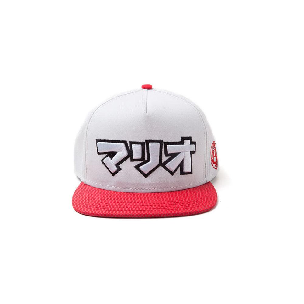 Nintendo Super Mario Bros. Japanese Mario Logo Snapback Baseball Cap, One Size, Grey/Red (SB097527NTN)