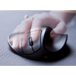 Hippus A Hippus product; the HandShoe LightClick is a black ergonomic mouse supporting hand position which