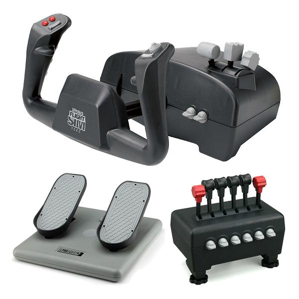 CH Products Captains Pack For PC & Mac (Inc USB Yoke, Quad Throttle & Pro Pedals)