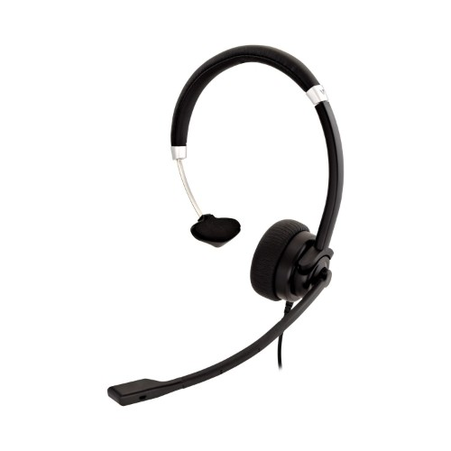 V7 Deluxe Mono Headset, USB, boom mic, Adjustable Headband for PC, Mac, Laptop Computer, Chromebook, Black