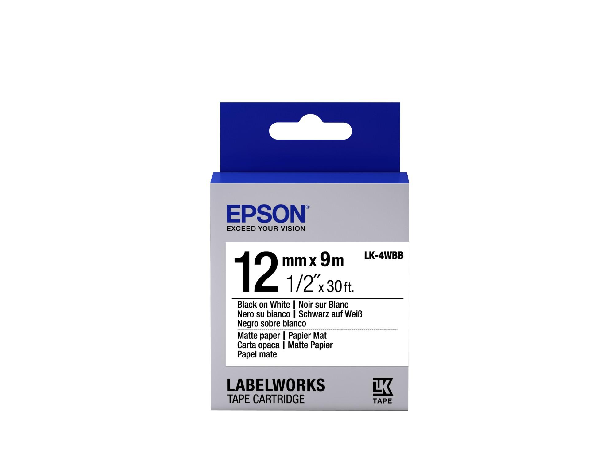 Epson C53S654023 (LK-4WBB) DirectLabel-etikettes, 12mm x 9m