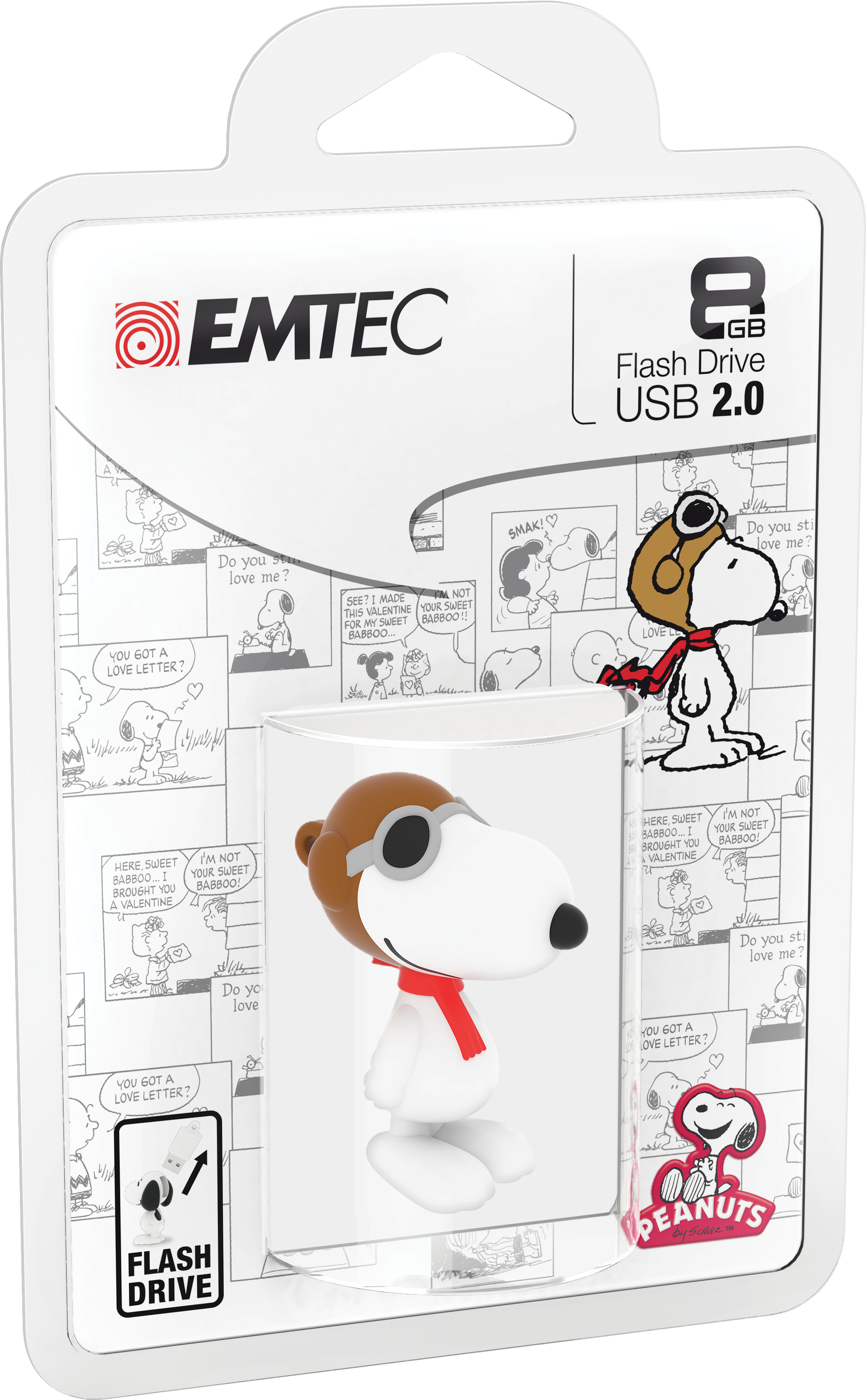 Emtec Peanuts Snoopy Flying Ace 8GB 8GB USB 2.0 Type-A Brown,White USB flash drive