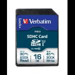 Verbatim Pro memory card 16 GB SDHC Class 10 UHS