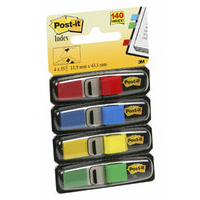 Post-It Flags, Primary Colors, 1/2 in Wide, 35/Dispenser, 4 Dispensers/Pack 35sheets self adhesive flags