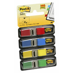 "Post-It Flags, Primary Colors, 1/2"" Wide, 35/Dispenser, 4 Disps/Pack"