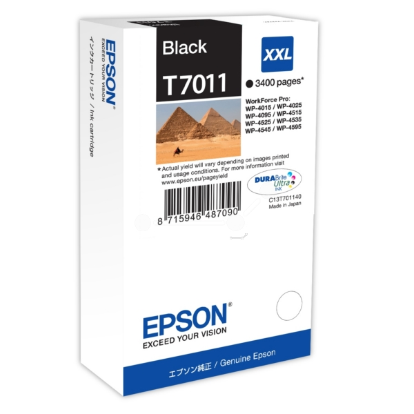 Epson C13T70114010 (T7011) Ink cartridge black, 3.4K pages, 63ml