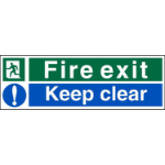 Stewart Superior Fire Exit Keep Clear Sign