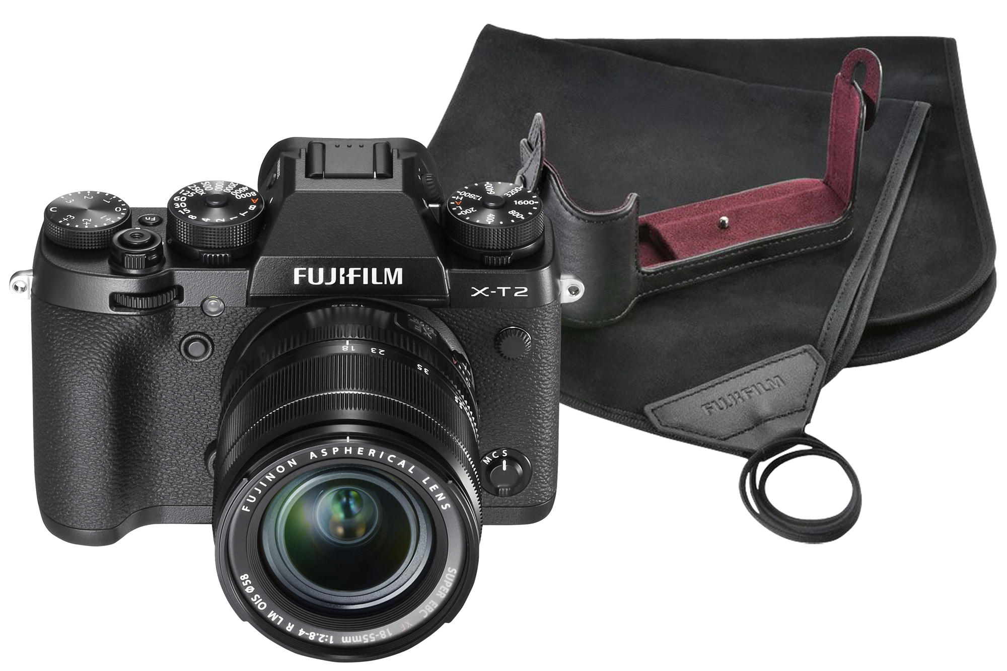 Fujifilm X-T2 Black Camera inc 18-55mm Lens, BLC-XT2 Leather Half Case & Cloth