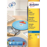 Avery CD/DVD Labels Inkjet 2 per Sheet Dia.117mm QuickDRY Ref J8676-100 [200 Labels]