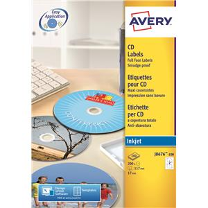 AVERY FULL FACE CD/DVD LBL IJET WHT P100 J8676-100