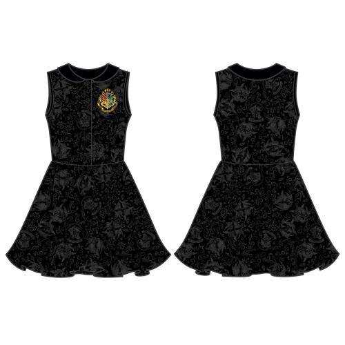 HARRY POTTER Woman's Hogwarts House Crests Collar Sleeveless Dress, Medium Multi-colour (DR4SNGHPT-M)