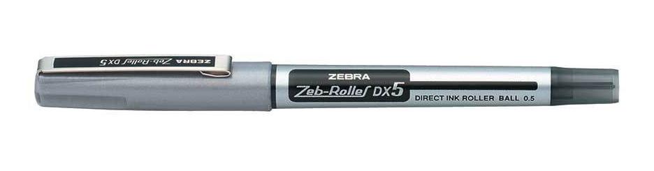 Zebra DX5 Rollerball Liquid Ink Fine Needle Point Black PK10
