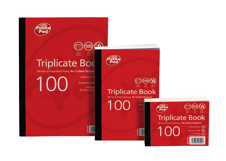 Pukka Value Triplicate Book Plain Ruled 216x130mm PK5
