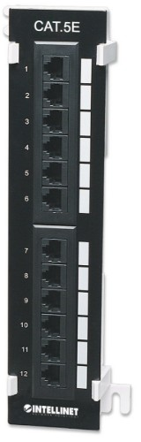 Intellinet Patch Panel, Cat5e, Wall-mount, UTP, 12-Port, Black