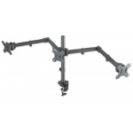 """Manhattan TV & Monitor Mount, Desk, Double-Link Arms, 3 screens, Screen Sizes: 10-27"""", Black, Clamp Assembly, Triple Screen, VESA 75x75 to 100x100mm, Max 7kg (each), Lifetime Warranty"""