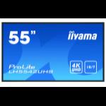 "iiyama LH5542UHS-B1 signage display 138.7 cm (54.6"") IPS 4K Ultra HD Digital signage flat panel Black Built-in processor Android 8.0"