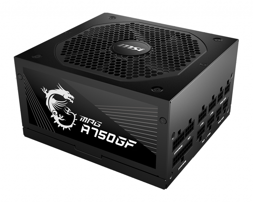 MSI MPG A750GF UK PSU '750W, 80 Plus Gold certified, Fully Modular, 100% Japanese Capacitor, Flat Cables, ATX Power Supply Unit, UK Powercord, Black, Support Latest GPU'