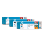 HP C9483A (91) Ink cartridge cyan, 775ml, Pack qty 3