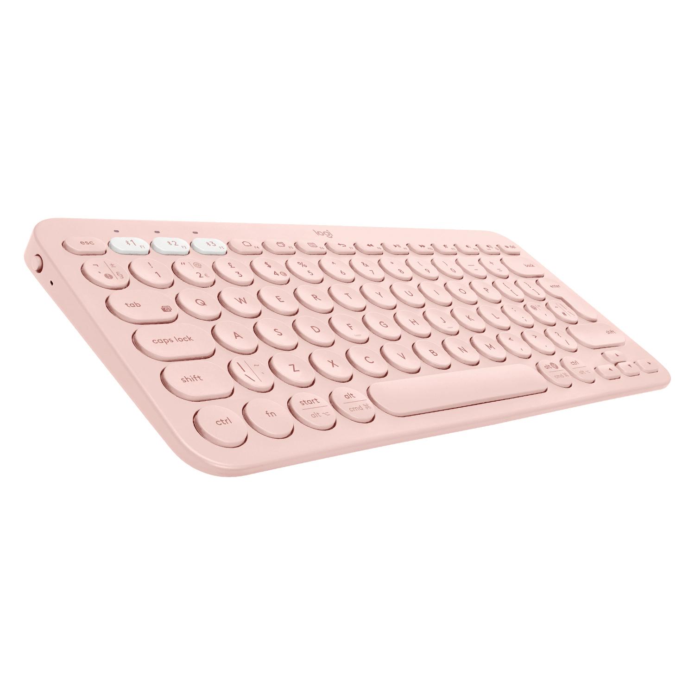 Logitech K380 teclado Bluetooth AZERTY Francés Rosa