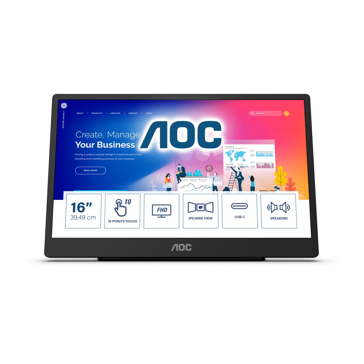 "AOC 16T2 touch screen monitor 39.6 cm (15.6"") 1920 x 1080 pixels Multi-touch Black"