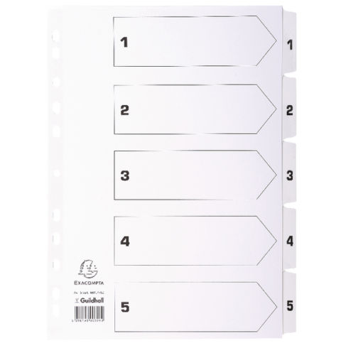 Guildhall L 1-5 INDEX MYLAR WHITE A4