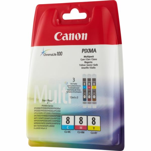 Canon 0621B029 (CLI-8) Ink cartridge multi pack, 3x13ml, Pack qty 3