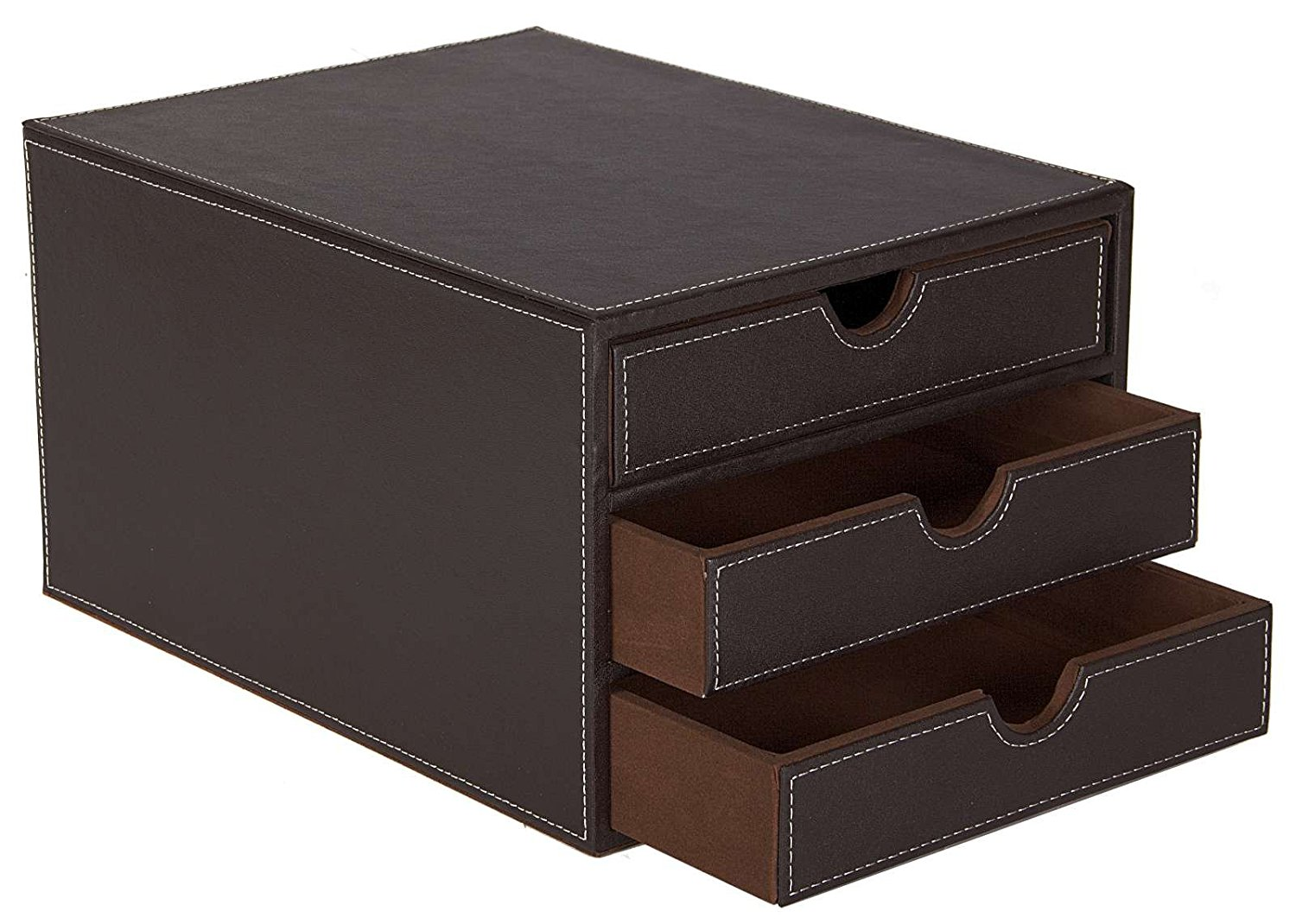 Osco Faux Leather 3 Drawer Sorter Brown