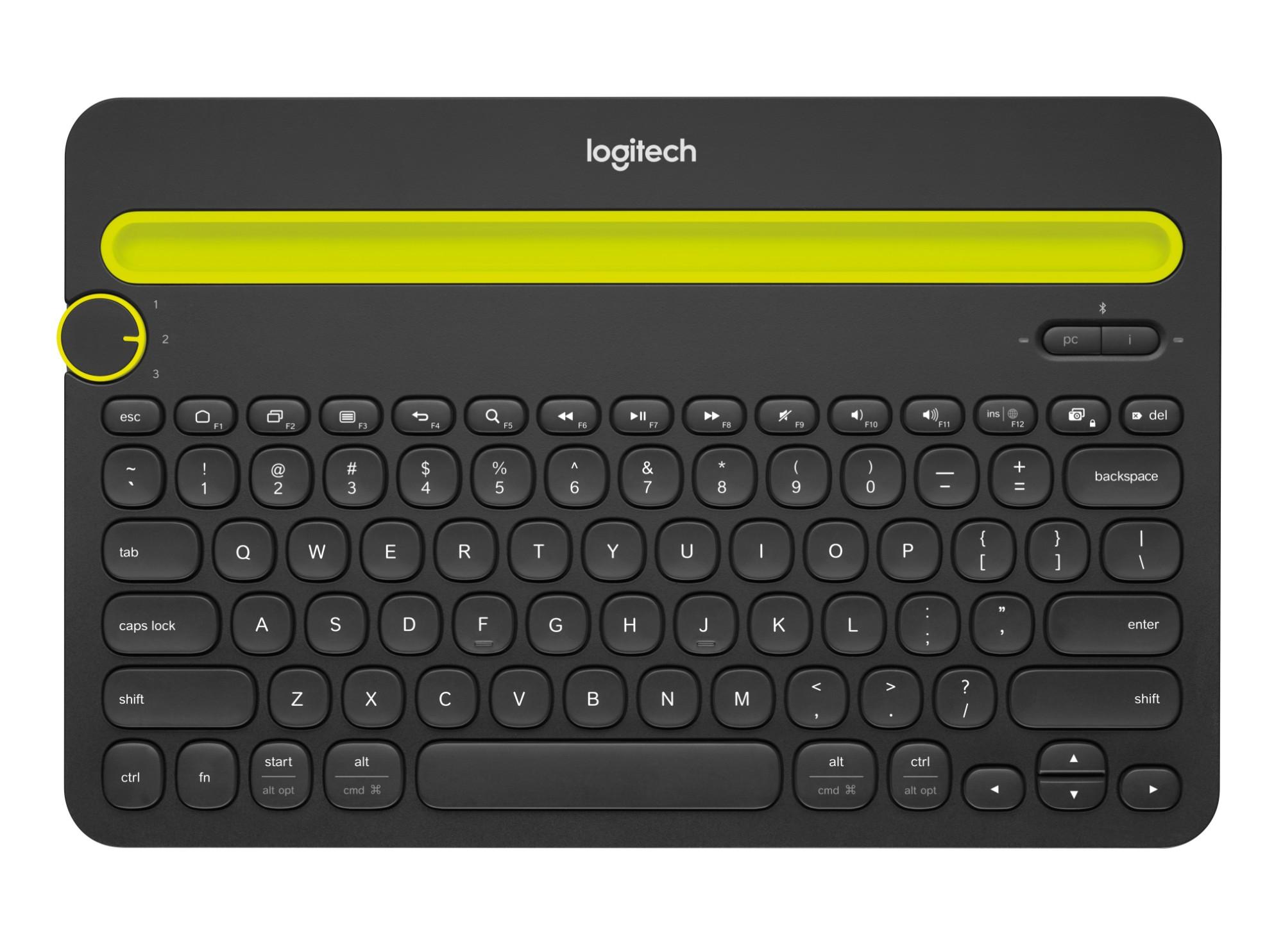 Logitech K480 AZERTY Francés Negro, Verde Bluetooth