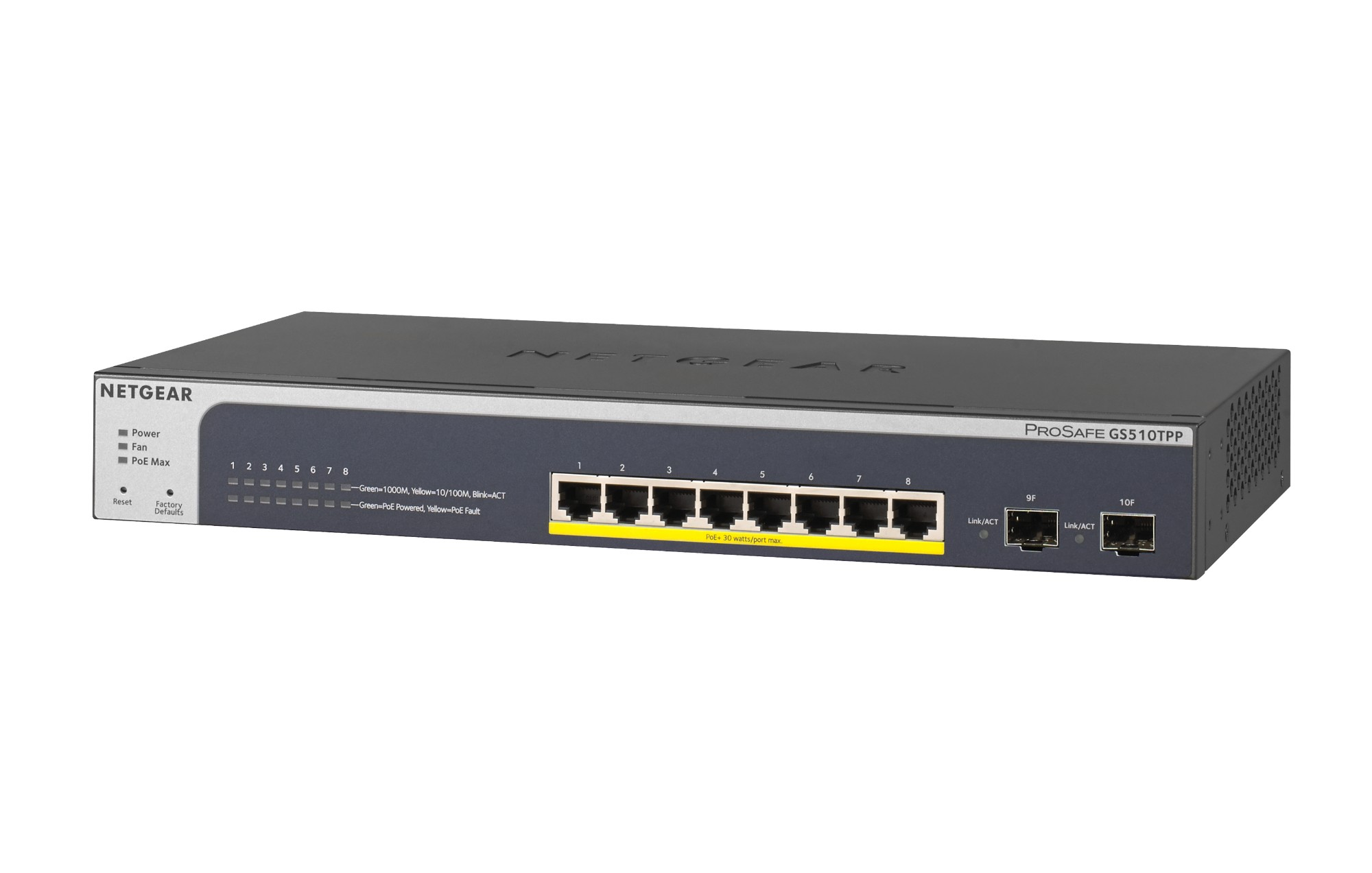 Netgear GS510TPP Managed L2/L3/L4 Gigabit Ethernet (10/100/1000) Power over Ethernet (PoE) Black