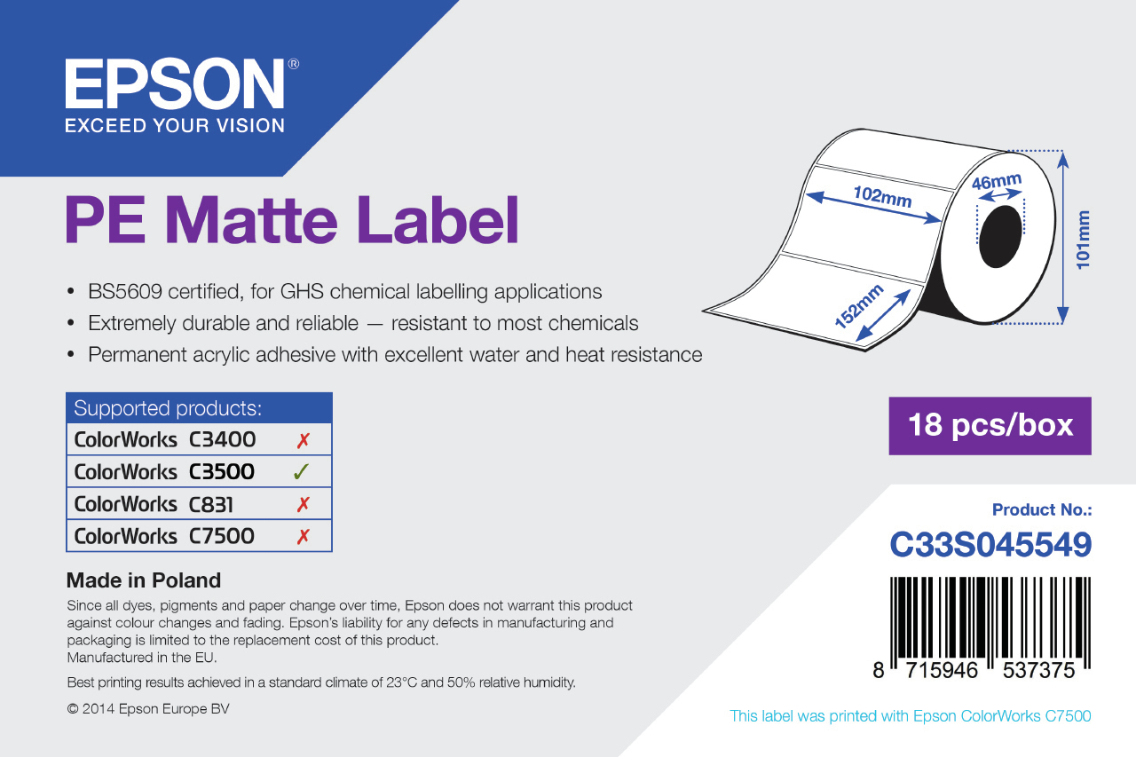 Epson PE Matte Label - Die-cut Roll: 102mm x 152mm, 185 labels