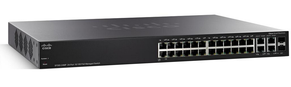 Cisco Small Business SF300-24PP Managed network switch L3 Fast Ethernet (10/100) Power over Ethernet (PoE) Black